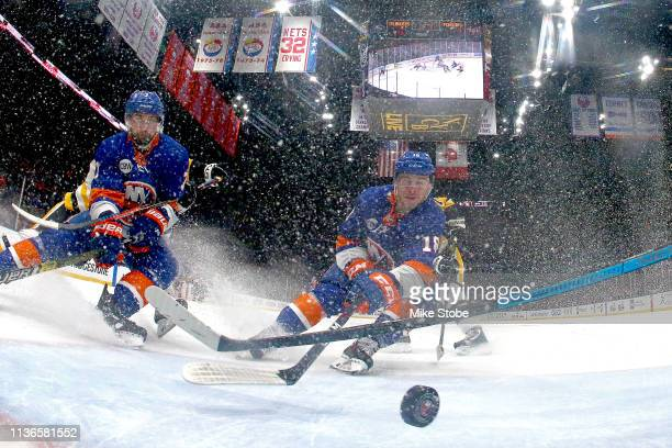 Anthony Beauvillier of the New York Islanders scores a second period goal against the Pittsburgh Penguins in Game Two of the Eastern Conference First...