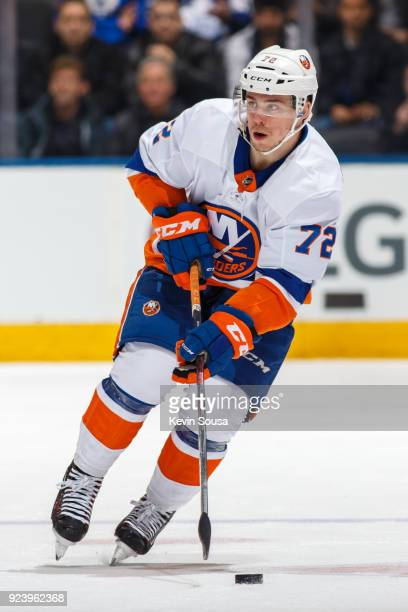 Anthony Beauvillier of the New York Islanders skates with the puck against the Toronto Maple Leafs during the first period at the Air Canada Centre...