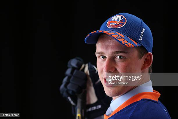 Anthony Beauvillier poses for a portrait after being selected 28th overall by the New York Islanders during the 2015 NHL Draft at BBT Center on June...