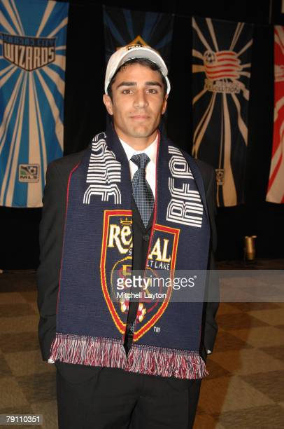 Anthony Beltran poses for a photo after being selected third by Real Salt Lake in the MLS Super Draft on January 18 2008 at the Baltimore Convention...