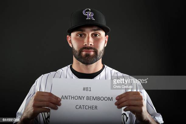 Anthony Bemboom of the Colorado Rockies poses for a portrait during photo day at Salt River Fields at Talking Stick on February 23 2017 in Scottsdale...