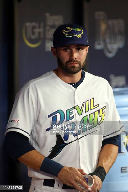 Anthony Bemboom of the Rays looks out from the dugout before the MLB regular season game between the New York Yankees and the Tampa Bay Rays on May...