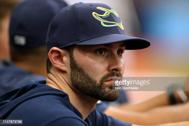 Anthony Bemboom of the Rays watches the action on the field during the MLB regular season game between the Minnesota Twins and the Tampa Bay Rays on...