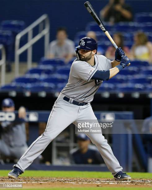 Anthony Bemboom of the Tampa Bay Rays at bat against the Miami Marlins at Marlins Park on May 14 2019 in Miami Florida