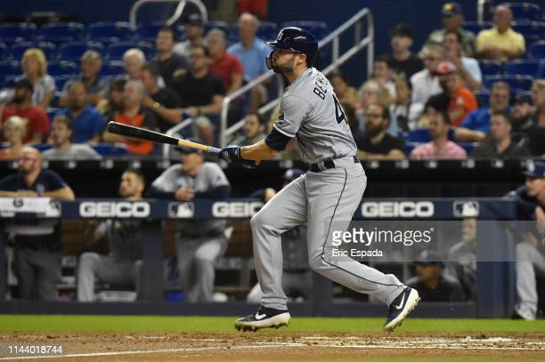 Anthony Bemboom of the Tampa Bay Rays hits an RBI double in the second inning against the Miami Marlins at Marlins Park on May 15 2019 in Miami...