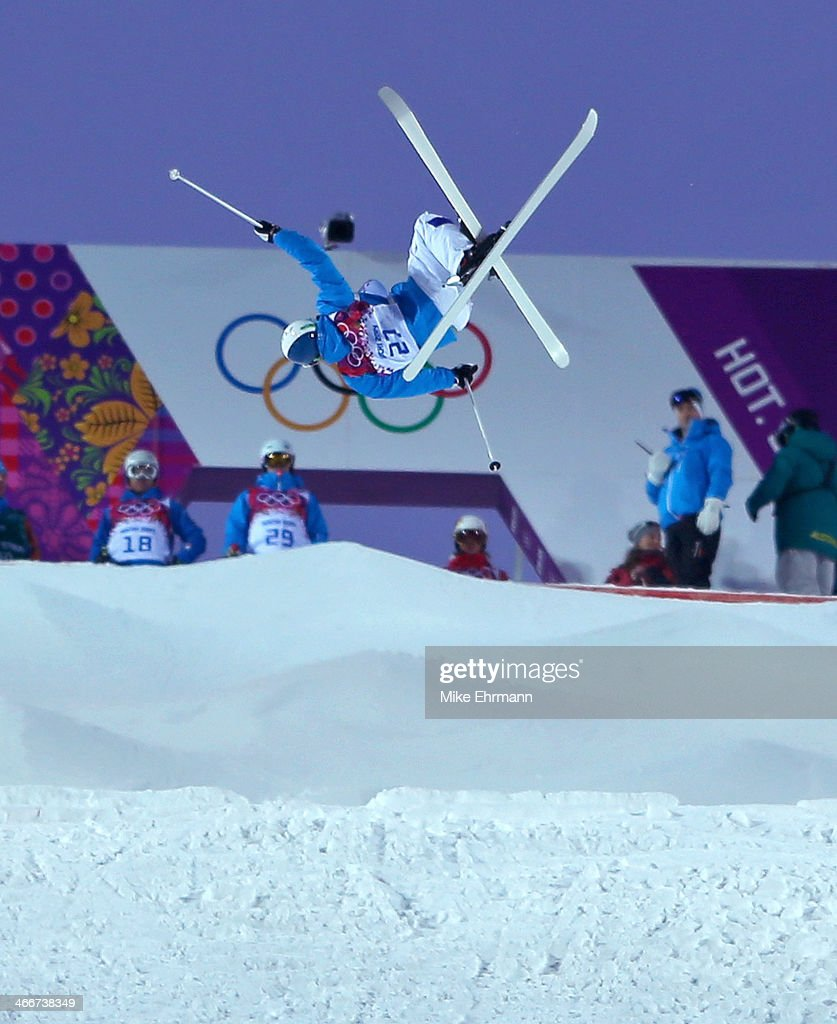 Anthony Benna of Finland practices during training for the Moguls Competition at the Extreme Park at Rosa Khutor Mountain on February 3, 2014 in Sochi, Russia.