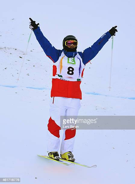 Anthony Benna of France celebrates victory during the Men's Moguls Final of the FIS Freestyle Ski and Snowboard World Championship 2015 on January...