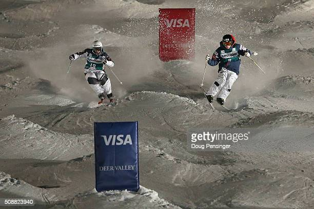 Anthony Benna of France skis to first place ahead of Jimi Salonen of Finland in second place in the final of the men's FIS Freestyle Skiing Dual...