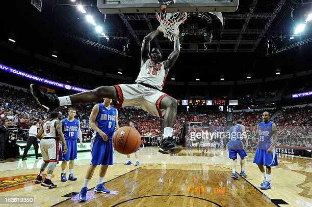Anthony Bennett of the UNLV Rebels dunks against the Air Force Falcons during a quarterfinal game of the Reese's Mountain West Conference Basketball...
