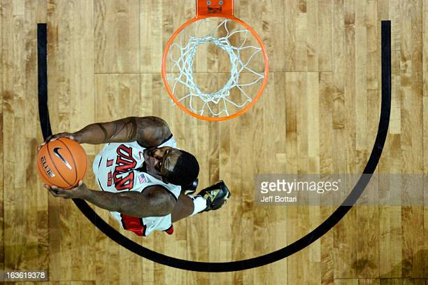 Anthony Bennett of the UNLV Rebels goes up for a reverse slam dunk against the Air Force Falcons during a quarterfinal game of the Reese's Mountain...