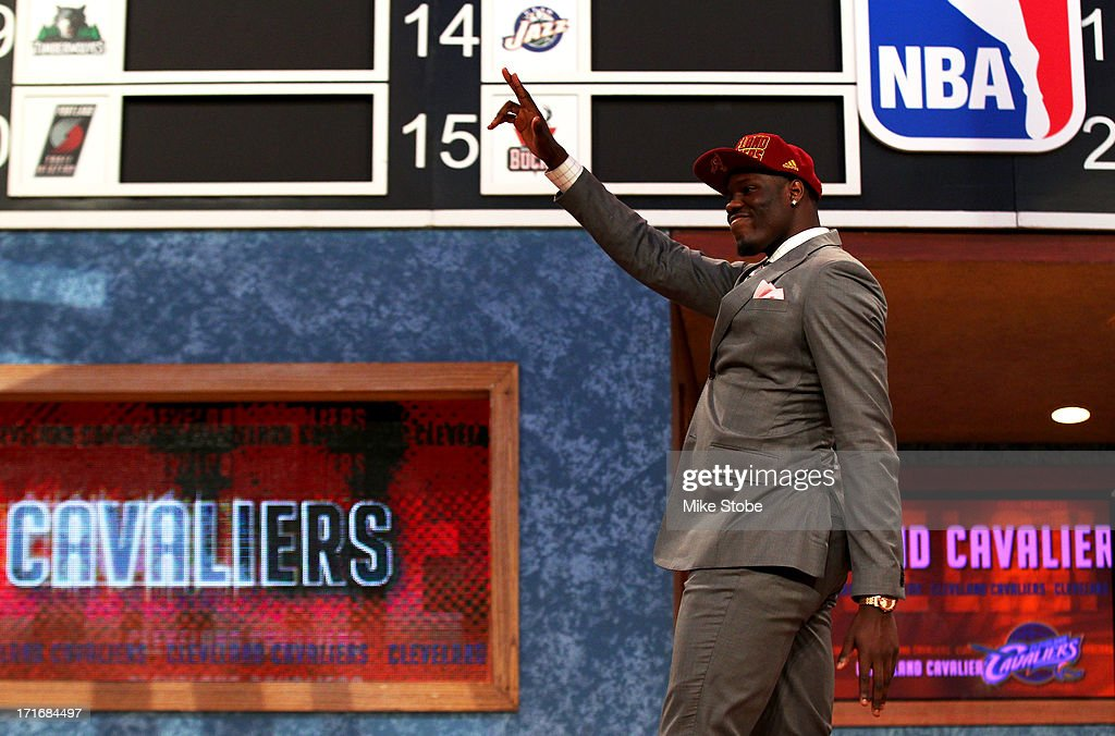 Anthony Bennett of UNLV reacts after he was drafted #1 overall by the Cleveland Cavaliers during the first round of the 2013 NBA Draft at Barclays Center on June 27, 2013 in in the Brooklyn Borough of New York City.