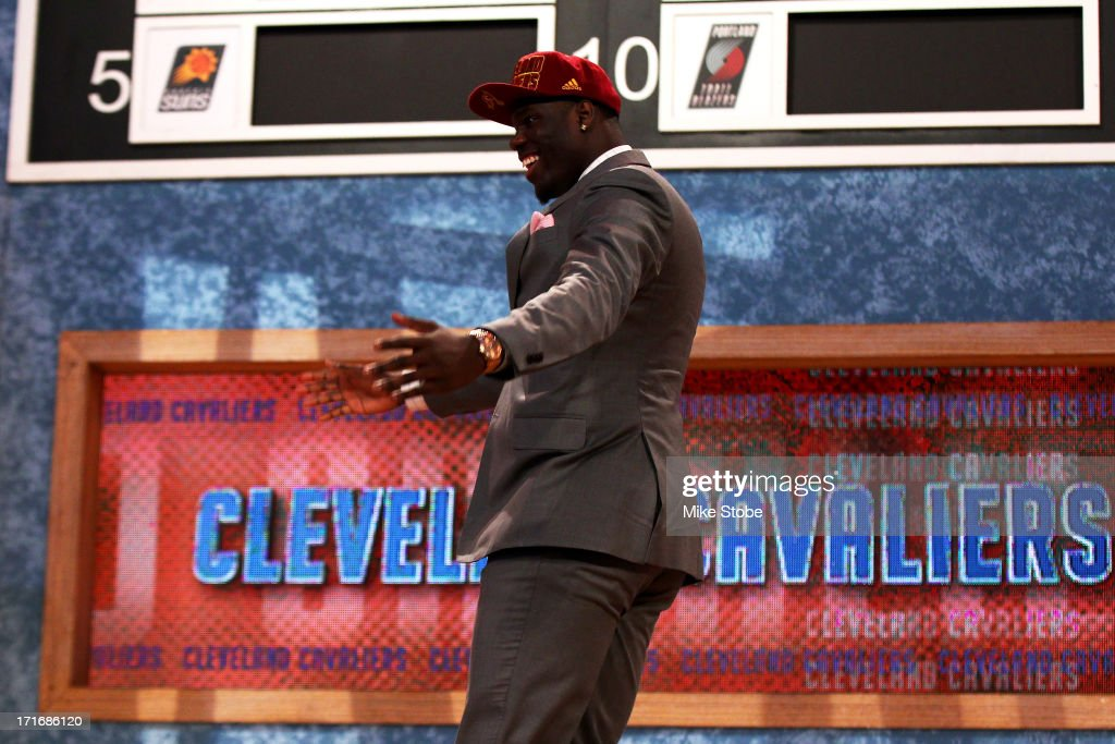 Anthony Bennett of UNLV reacts after he was drafted #1 overall by the Cleveland Cavaliers during the first round of the 2013 NBA Draft at Barclays Center on June 27, 2013 in in the Brooklyn Bourough of New York City.
