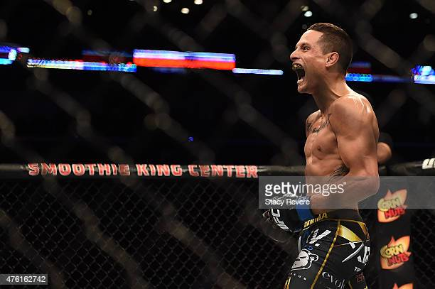 Anthony Birchak reacts to his victory over Joe Soto in their bantamweight bout during the UFC Fight Night event at Smoothie King Center on June 6,...