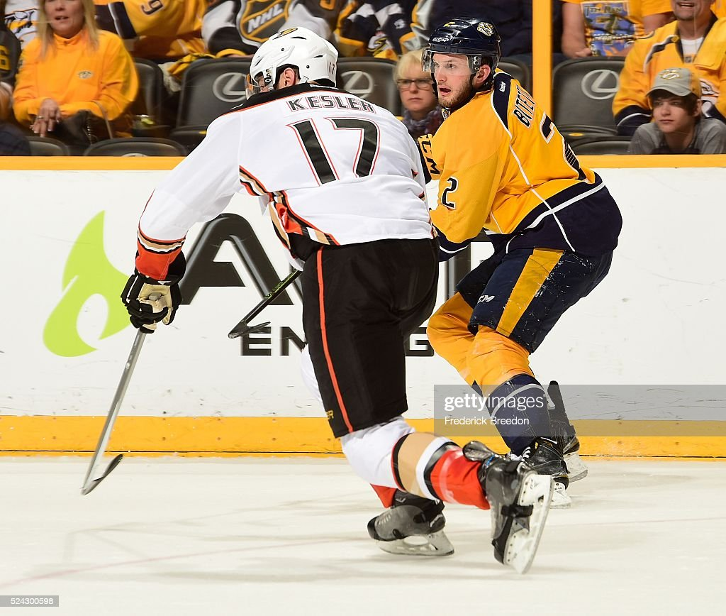 Anthony Bitetto of the Nashville Predators skates against Ryan Kesler #17 of the Anaheim Ducks during the second period in Game Six of the Western Conference First Round during the 2016 NHL Stanley Cup Playoffs at Bridgestone Arena on April 25, 2016 in Nashville, Tennessee.