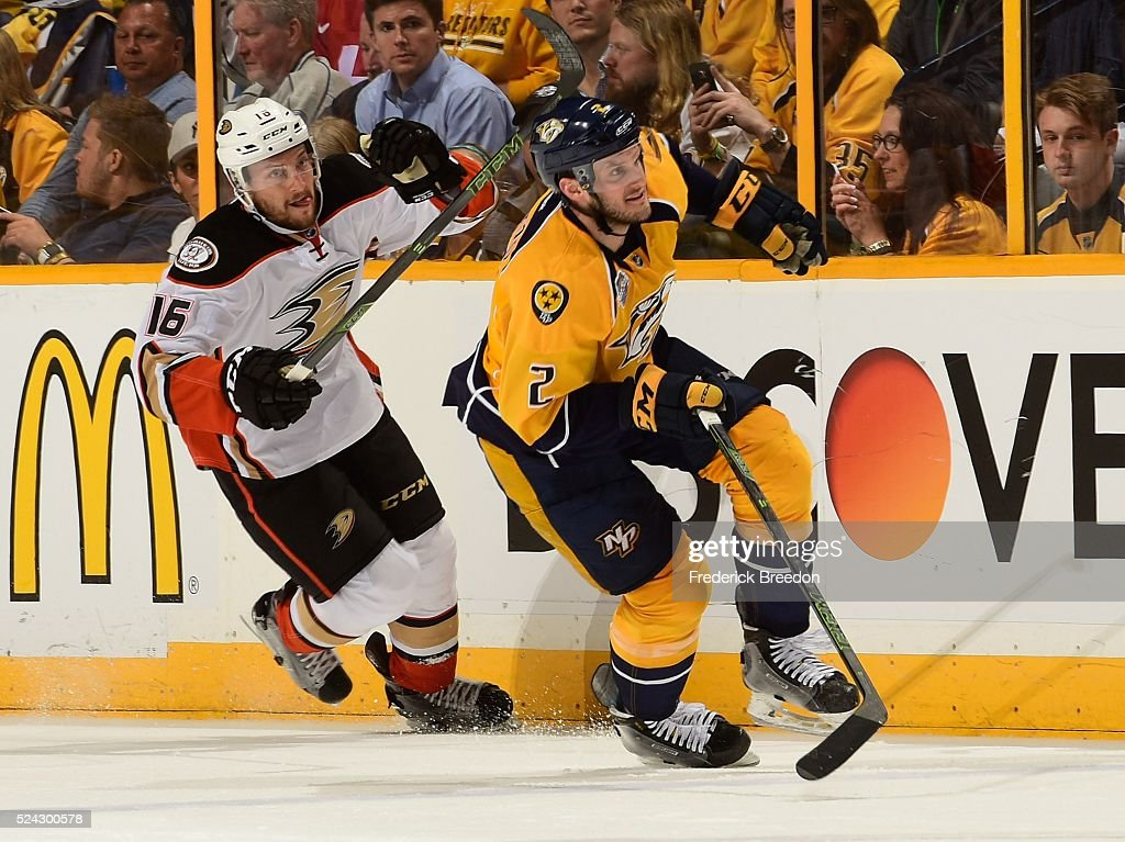 Anthony Bitetto of the Nashville Predators skates against Ryan Garbutt #16 of the Anaheim Ducks during the second period in Game Six of the Western Conference First Round during the 2016 NHL Stanley Cup Playoffs at Bridgestone Arena on April 25, 2016 in Nashville, Tennessee.