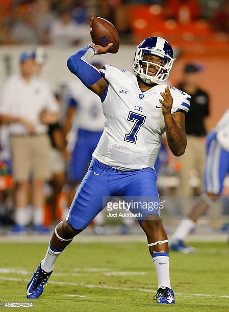 Anthony Boone of the Duke Blue Devils throws the ball against the Miami Hurricanes during first quarter action on September 27 2014 at Sun Life...