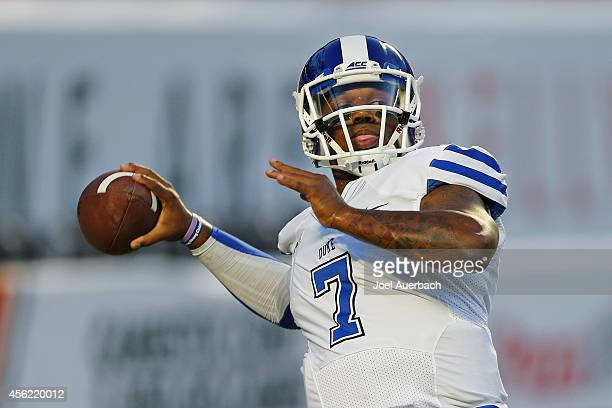 Anthony Boone of the Duke Blue Devils throws the ball prior to the game against the Miami Hurricanes on September 27 2014 at Sun Life Stadium in...