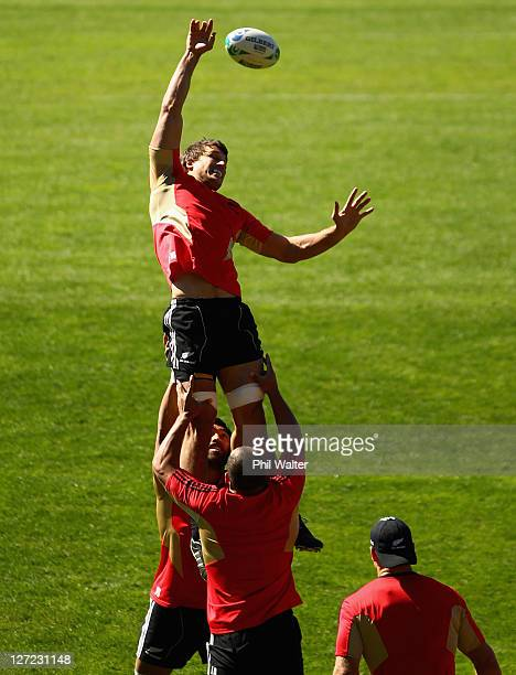 Anthony Boric of the All Blacks clears the ball from the lineout during a New Zealand All Blacks IRB Rugby World Cup 2011 training session at Rugby...