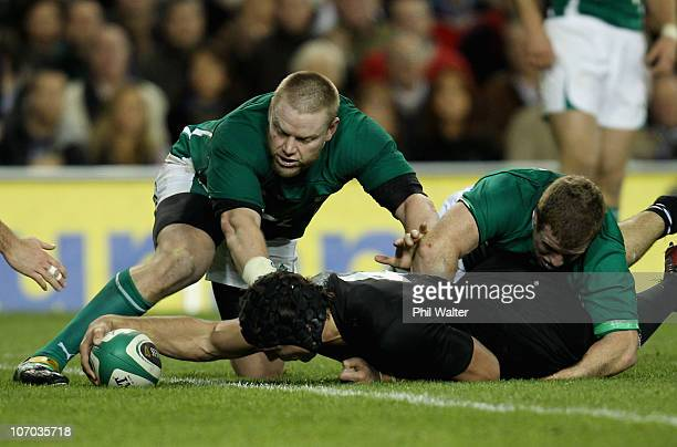 Anthony Boric of the All Blacks scores a try during the Test match between Ireland and the New Zealand All Blacks at Aviva Stadium on November 20...