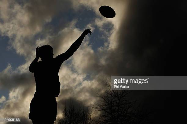 Anthony Boric of the All Blacks throws the ball during a New Zealand All Blacks IRB Rugby World Cup 2011 training session at St Peters College on...