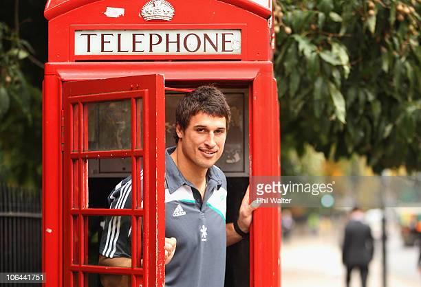 Anthony Boric of the New Zealand All Blacks poses inside a telephone box on Kensington High Street on November 2, 2010 in London, England.