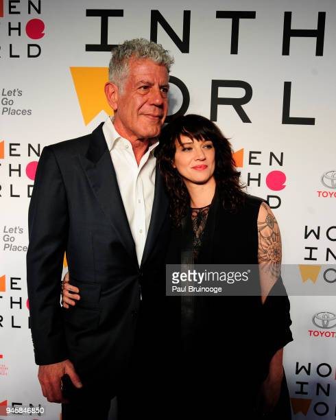 Anthony Bourdain and Asia Argento attend the 2018 Women In The World Summit at David H Koch Theater Lincoln Center on April 12 2018 in New York City