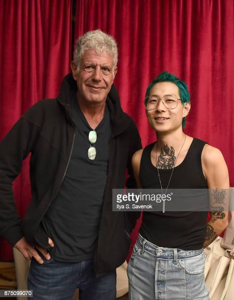 Anthony Bourdain and Danny Bowien attend 'The Mind Of A Chef' Premiere Launch Party at Mission Chinese Food on November 16 2017 in New York City