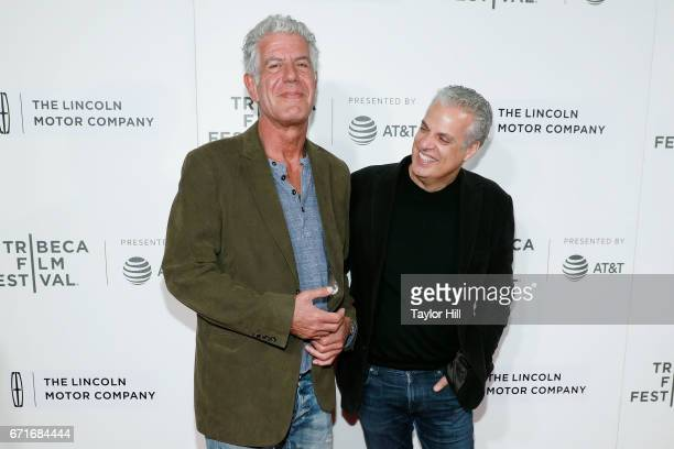 Anthony Bourdain and Eric Ripert attend the premiere of 'Wasted' during the 2017 Tribeca Film Festival at Borough of Manhattan Community College on...