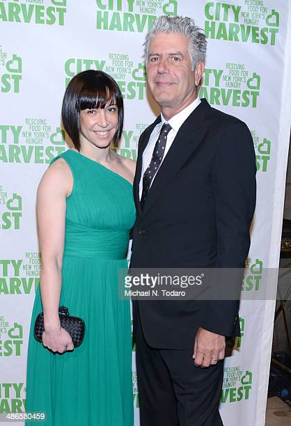 Anthony Bourdain and Ottavia Busia attends 20th Annual City Harvest An Evening Of Practical Magic at Cipriani 42nd Street on April 24 2014 in New...