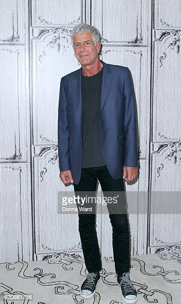 Anthony Bourdain appears to promote Raw Craft during the AOL BUILD Series at AOL HQ on November 2 2016 in New York City