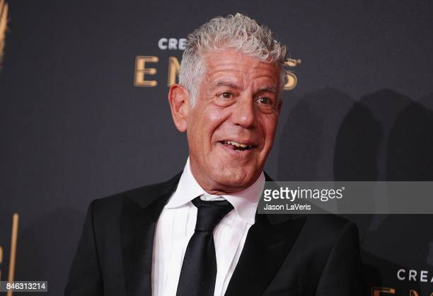 Anthony Bourdain attends the 2017 Creative Arts Emmy Awards at Microsoft Theater on September 9 2017 in Los Angeles California