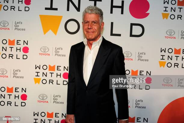 Anthony Bourdain attends the 2018 Women In The World Summit at David H Koch Theater Lincoln Center on April 12 2018 in New York City