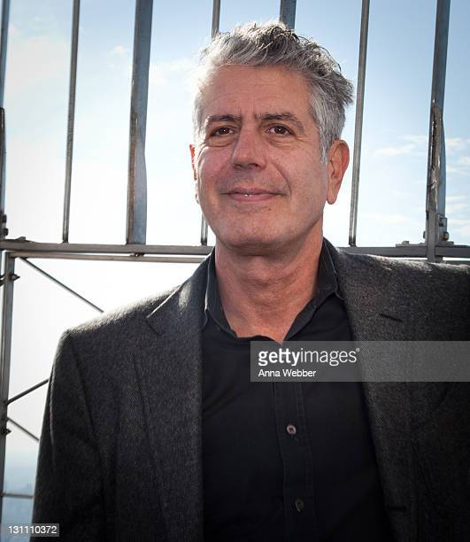 Anthony Bourdain attends The Food Bank For New York City Lights The Empire State Building Orange For Hunger Awareness at The Empire State Building on...
