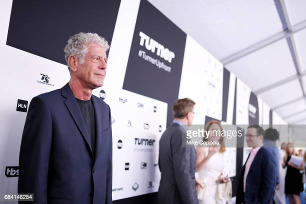 Anthony Bourdain attends the Turner Upfront 2017 arrivals on the red carpet at The Theater at Madison Square Garden on May 17 2017 in New York City...