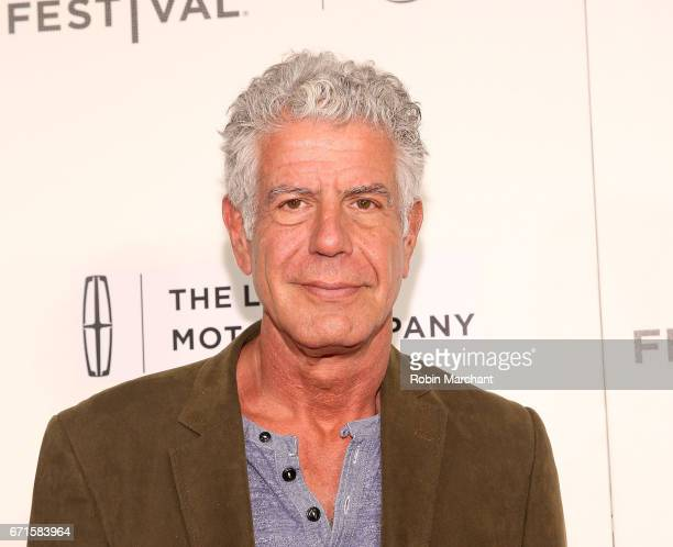 Anthony Bourdain attends 'WASTED The Story of Food Waste' Premiere during 2017 Tribeca Film Festival at BMCC Tribeca PAC on April 22 2017 in New York...
