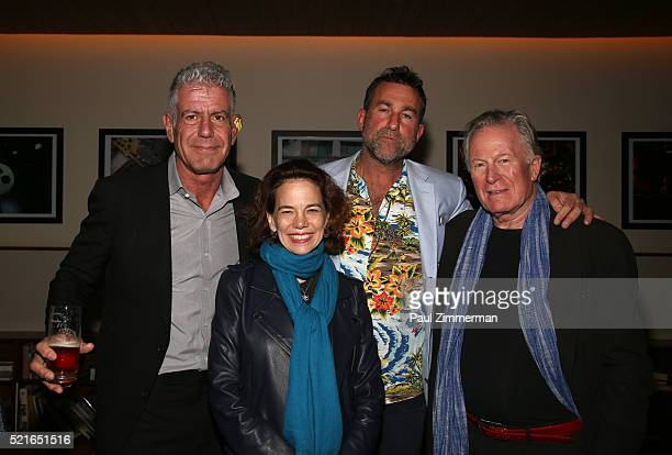 Anthony Bourdain Dana Cowin Ken Friedman and Jeremiah Tower attend the CNN Films and ZPZ Production premiere party celebrating Jeremiah Tower The...