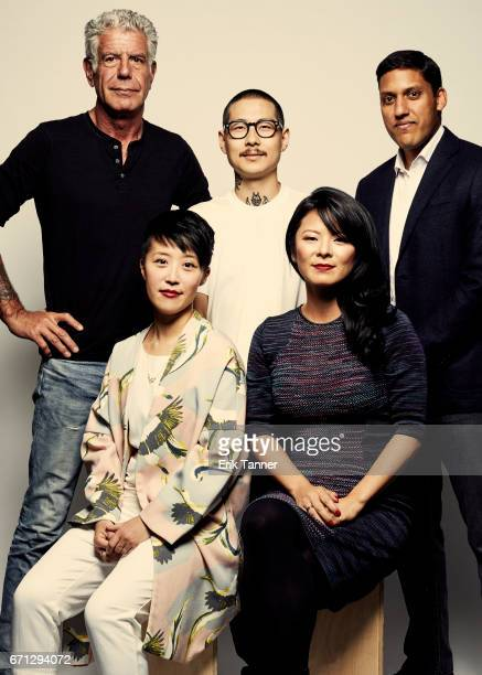 Anthony Bourdain Danny Bowien Rajiv Shah Anna Chai and Nari Kye from 'WASTED The Story of Food Waste' pose at the 2017 Tribeca Film Festival portrait...