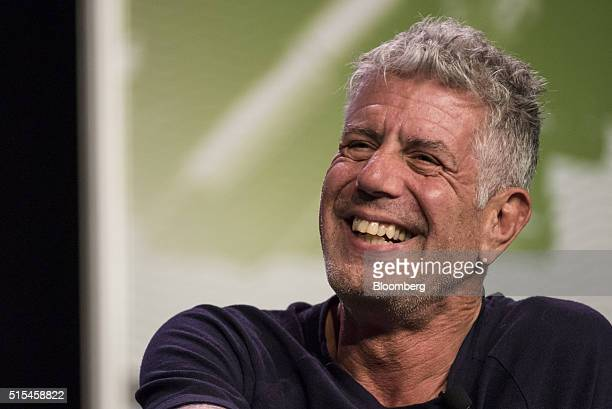 Anthony Bourdain host of CNNs Parts Unknown laughs during the South By Southwest Interactive Festival at the Austin Convention Center in Austin Texas...