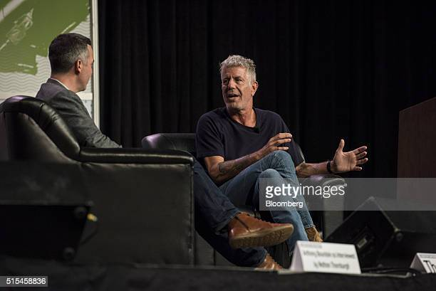 Anthony Bourdain host of CNNs Parts Unknown right speaks as Nathan Thornburgh cofounder and publisher of Roads Kingdoms listens during the South By...