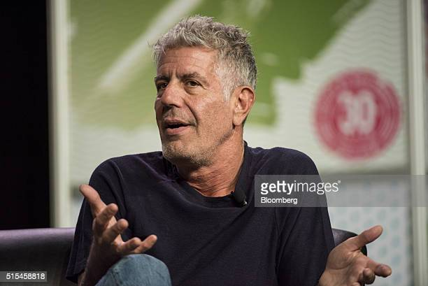 Anthony Bourdain host of CNNs Parts Unknown speaks during the South By Southwest Interactive Festival at the Austin Convention Center in Austin Texas...