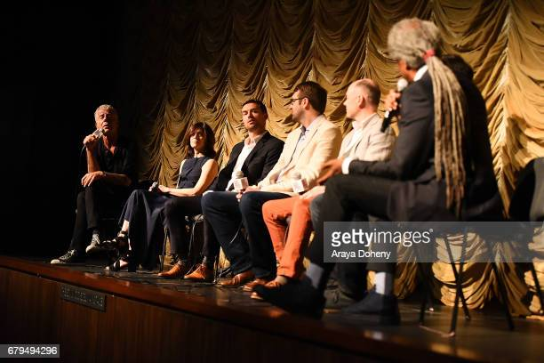Anthony Bourdain Sandy Zweig Jeff Allen Hunter Gross Zach Zamboni Tom Vitale and Elvis Mitchell attend the Film Independent at LACMA screening of...