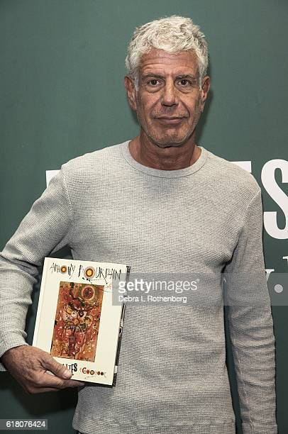 Anthony Bourdain signs copies of his new book ' Appetites A Cookbook' at Barnes Noble Union Square on October 25 2016 in New York City