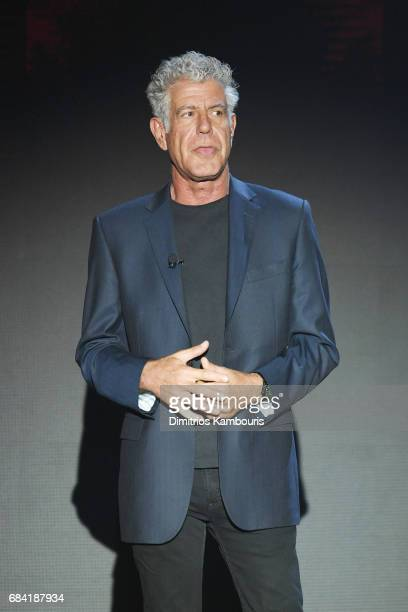 Anthony Bourdain speaks onstage during the Turner Upfront 2017 show at The Theater at Madison Square Garden on May 17 2017 in New York City 26617_003