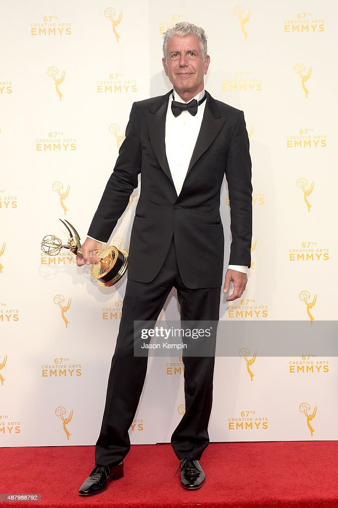 Anthony Bourdain, winner of the award for outstanding informational series or special for 'Anthony Bourdain Parts Unknown,' poses in the press room during the 2015 Creative Arts Emmy Awards at Microsoft Theater on September 12, 2015 in Los Angeles, California.
