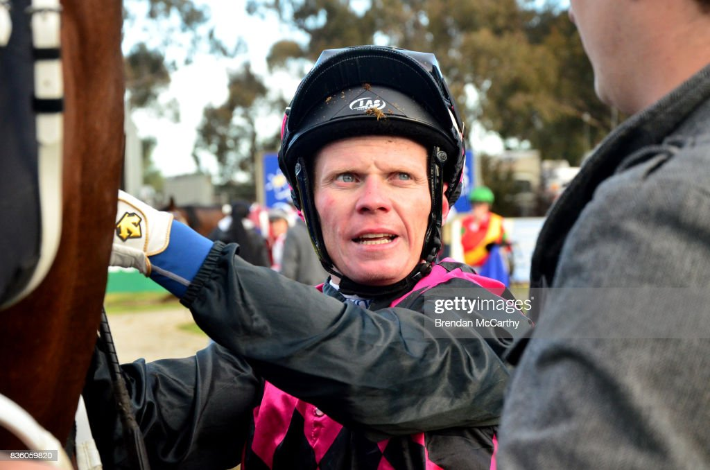 Anthony Boyd after winning the Barmah Hotel BM58 Handicap at Echuca Racecourse on August 21, 2017 in Echuca, Australia.