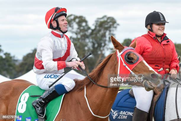 Anthony Boyd returns to the mounting yard on Hospeda after winning Ballarat Conveyancing BM58 Handicap at Avoca Racecourse on October 21 2017 in...