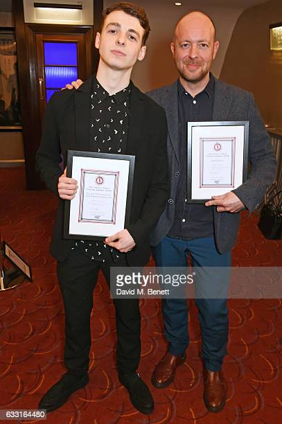 Anthony Boyle winner of the Jack Tinker Award for Most Promising Newcomer and John Tiffany winner of the Best Director award for 'Harry Potter And...