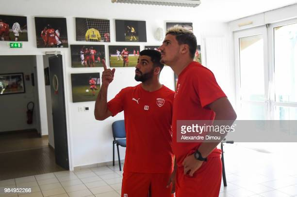 Anthony Briancon and Umut Bozok of Nimes during the Training Session of Nimes on June 27 2018 in Nimes France