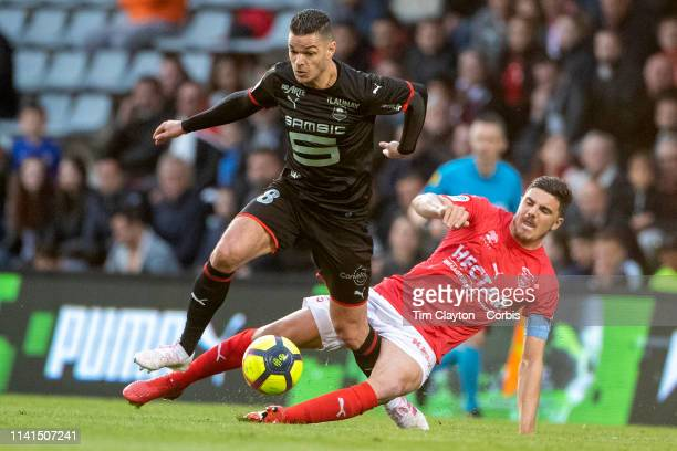 April 9: Anthony Briancon of Nimes was sent off for this challenge on Hatem Ben Arfa of Rennes during the Nimes V Stade Rennes, French Ligue 1,...