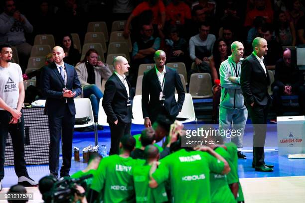 Anthony Brossard Joseph Gomis assistant coach and TJ Parker head coach of ASVEL and his team during the Leaders Cup match between Strasbourg and Lyon...